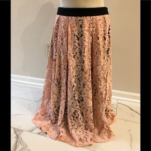 Karl Lagerfeld peachy pink lace midi skirt